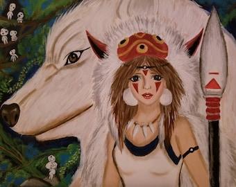 Princess Mononoke and Wolf Painting on Canvas (Original)