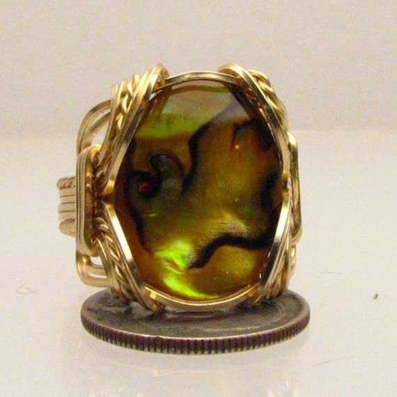 Handmade Solid 14kt Gold Wire Wrap Yellow Paua Shell Ring