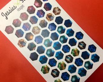 Hexagon Galaxy Stickers