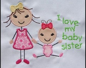 INSTANT DOWNLOAD Stick figures I love my big sister I love my baby sister Applique designs