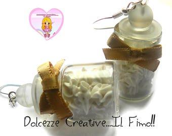 Earrings bottles with Meringues - kawaii hadmade pastry