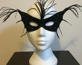 Feathered Emerald Oz Crystal Batwing Mardi Gras Masquerade Mask
