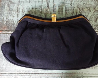 Vintage - 1950s Navy Blue L and M Spotlite Clutch with 2 Sections - Something Blue
