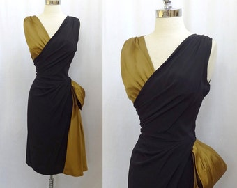 Vintage 1940s 1950s Black Rayon Gold Silk Hourglass Draped Cocktail Party Dress M