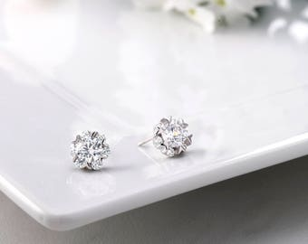925 Sterling Silver Studs,  5MM CZ Womens Stud Earrings, CZ Studs for Girlfriend, Solitaire Stud Earrings, Sparkly Stud Earrings, CZ Studs