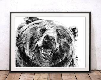 Bear Art Print Grizzly Bear Wall Art Bear Charcoal Illustration Bear Print Bear Gift for Home Bear Wall Hanging Art Decor by Bex