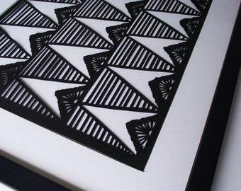 Framed Hand-cut Geometric Papercut