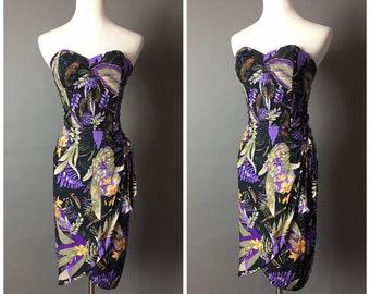 Vintage dress / vintage 50s style dress / hawaiian dress / tiki dress / tropical dress / floral dress / wiggle dress / party dress / 8383