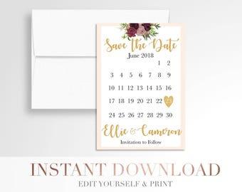 Printable Wedding Save the Date // Blush Calendar Save the Date // Editable Save the Date // Digital Wedding Stationery // Boho // Templett