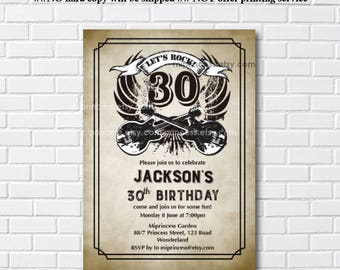 birthday invitation, Music birthday, rock and roll, birthday party, music party, music lover, party invitation, men birthday - card 1135