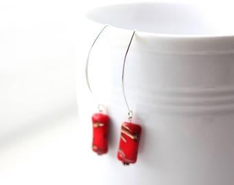 Red vintage lampwork beaded earrings