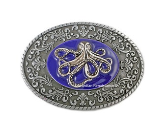 Octopus Belt Buckle Inlaid in Hand Painted Purple Enamel with Intricate Brocade Etchings Oval Buckle with Color Options Available