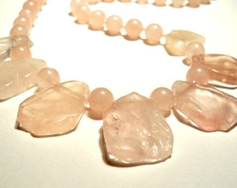 Rose Quartz Chunky Bib Necklace