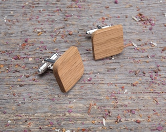 Wood Cufflinks, Rounded Square oak wooden cufflinks, Wedding groomsman cuff links set of 2-4-6-8-10 groomsmen customized