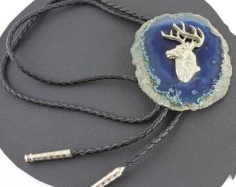 Silver Deer Head on Blue Agate Stone Bolo Tie