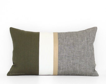 Metallic Gold Stripe Pillow Cover in Olive Green and Cream - Modern Home Decor by JillianReneDecor - Chambray - Colorblock - Cypress