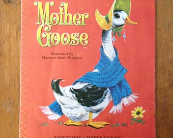 Vintage Baby's First Golden Book- Mother Goose Rip-resistant Baby Book