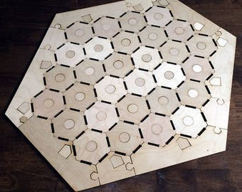 "Blank 5-6 Player Settlers of Catan Game Board and Tokens, Notched Style - Unfinished Birch Plywood 1/8"" or 1/4"""