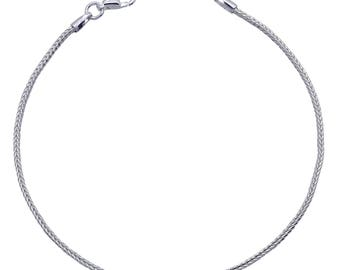 """Sterling Silver Foxtail Bracelet 1.5mm 6.5"""" 7"""" 7.5"""" inches"""