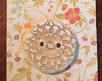Handmade Ceramic Button With A Lace Design Tea And Ivory Color