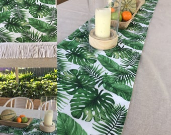 Palm leaf Tropical Table Runner 36cm wide. Fully lined with fringed edge. Various lengths - handmade.