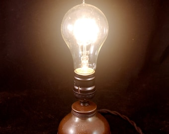 Vintage Steampunk Oil Can Light with Edison Bulb