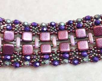 PATTERN Tutorial Lacy Cuff bracelet with CzechMate Tile and Bar or SuperDuo beads bead weaving