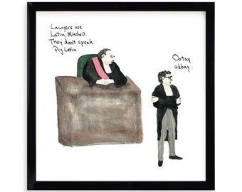 """Pig Latin, Lawyer Limited Edition Archival Prints by Simon Schneiderman Framed 18"""" x 18"""""""