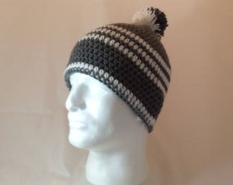 Gray and White Winter Warmup Hat with Pom