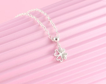 925 Silver chain with four-leaf clover pendant, clover leaf, Swarovski