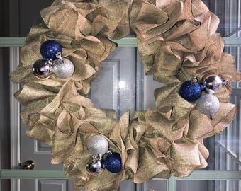 Blue and Silver Wreath (Local pick up listing - 20882)