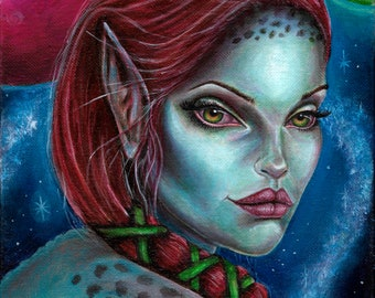 ORIGINAL PAINTING Apocalypse Alien Girl Fantasy Art by Laurie Leigh Acrylic on Canvas