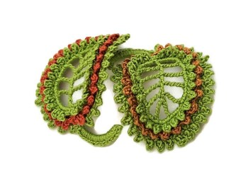 DIY fall decor Leaves applique Falling leaves Fall leaves applique Crochet autumn leaf Leaf applique Crochet leaf Fall season leaves 2leaves