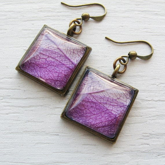 Real Botanical Earrings - Purple Antique Brass Square Pressed Leaf Earrings