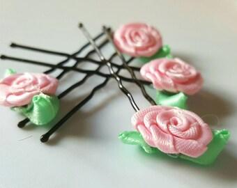 floral hair pin, ribbon flower bobby pins, flower girl rose bobby pin, bridesmaid bobby pin, pink flower girl hair pin, pink rose hair pin