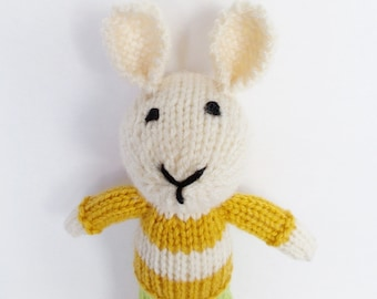 Hand Knit Little Bunny Rabbit, Green Gold Cream Stuffed Animal Kids Toy, Newborn Infant Baby Shower Gift, Toddler Child Plush Doll