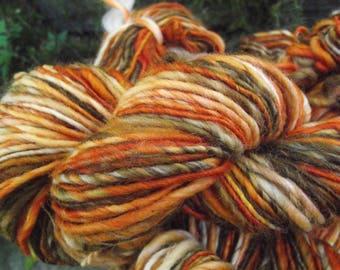 Handspun yarn, handpainted Merino wool yarn, thick and thin, AUNT DOT