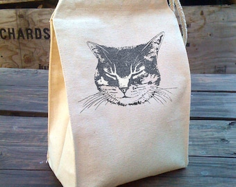 Cat Lunch Bag, Cat lunch box, Kids lunch bag made from Recycled Cotton Canvas, Kitty Snack Bag, Reusable washable lunch bag by Little Lark