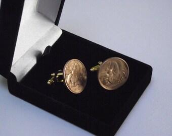 35 - Italian 10 Centesimi Honey Bee Coin Cufflinks