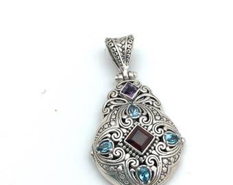 Sterling Silver Multi -stone Bali Pendant