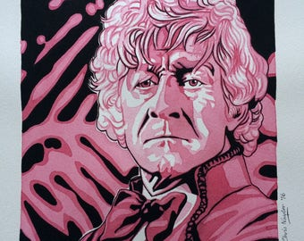 ORIGINAL watercolour/gouache painting of Jon Pertwee (Doctor Who) by Chris Naylor