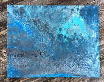 Original Abstract Acrylic Flow Painting With Shades of Blue and Silver