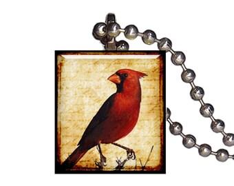 Vintage Male Cardinal Red Bird - Reclaimed Scrabble Tile Pendant Necklace