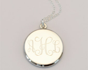 FREE SHIPPING Medium Custom Engraved Charm Necklace, Personalized Gift, Flower Girl, FREE Gift Wrapping