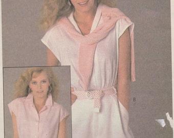 "1980's Sewing Pattern Women's Blouse Shirt Top Short Sleeve Button Down Size Medium Bust 36-38"" McCall's 7949"