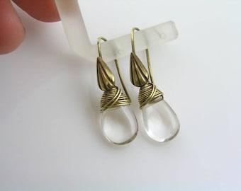 Rock Quartz Earrings, April Birthstone, Wire Wrapped Earrings, Gem Jewelry, Small Earrings, Short Earrings, Gift Idea, E1320