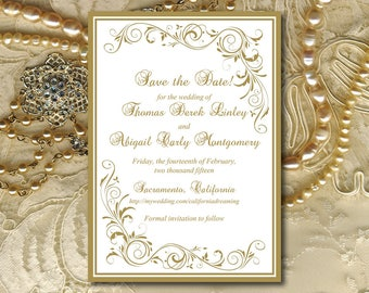 "Save the Date Wedding Announcement Template - Gold Wedding Instant Download - DIY Invitation Template - DIY Wedding STD ""Grand Flourish"""