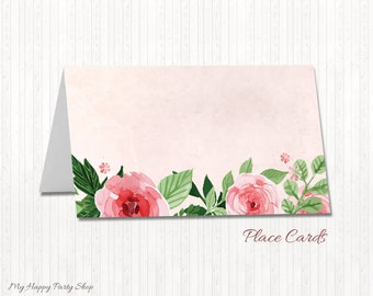Roses Place Cards, Printable Place Cards, Floral Name Cards, DIY Place Cards, Food Label Cards, Pink, Floral Table Cards - PRINTABLE - AW008