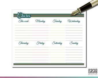 PRINTABLE / Weekly Chores Sheet