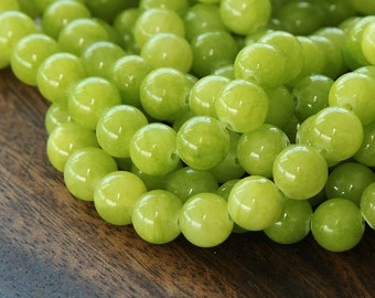 Mountain Jade Beads, Chartreuse, 6mm Round - 15.5 Inch Strand - eMJR-G12-6